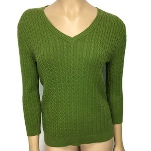 525 America Cable Knit Green Sweater Size Medium
